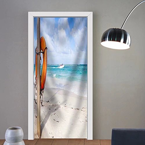 Niasjnfu Chen custom made 3d door stickers Red Round Life Buoy Hanging on Wooden Pole Empty Sandy Beach of Dominican Republic Fabric Home Decor For Room Decor - Use Buoy To How Pull