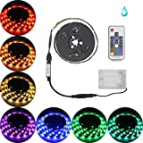 Led Strip Lights Battery Powered,abtong RGB Led Strip Rope Lights Waterproof Led Lights with Remote Control Flexible Led Strip Lighting-2M/6.56ft