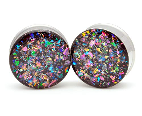 Mystic Metals Body Jewelry Large Gauge Embedded Dichroic Glass Plugs - Sold As a Pair (1-1/4