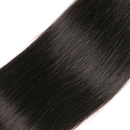 Brazilian Straight Hair With Closure 3 Bundles Unprocessed Virgin Human Hair Bundles With Lace Closure Free Part Hair Extensions Natural Color(12 14 16+10) by RUIMEISI (Image #7)