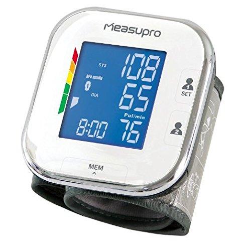 MeasuPro Digitales Handgelenk-Blutdruckmessgerät mit Herzfrequenzerkennung, für Hypertonie Farbdisplay mit Warnsignal, zwei-Benutzer-Modi, Indikator für unregelmäßigen Herzschlag (IHB) und Speicherabruf