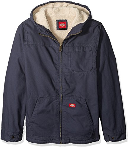 Dickies Men's Big Sanded Duck Sherpa Lined Hooded Jacket, Diesel Gray, X-Large Tall (Sanded Hooded Work Jacket)