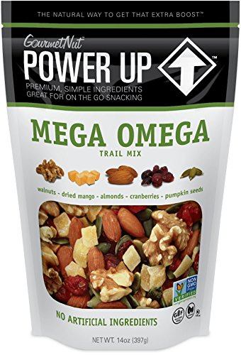 Power Up Trail Mix, Mega Omega Trail Mix, Keto-Friendly, Paleo-Friendly, Non-GMO, Vegan, Gluten Free, No Artificial Ingredients, Gourmet Nut, 14 oz Bag