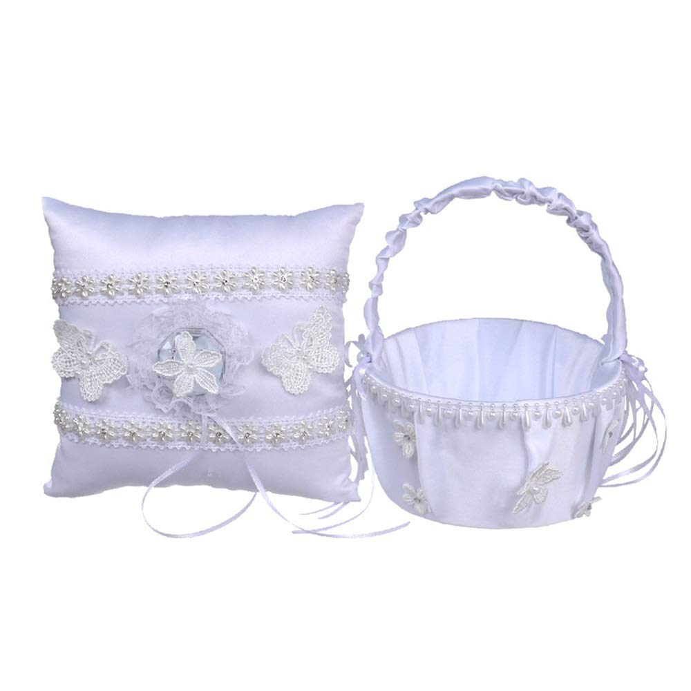 LPGK Wedding Flower Basket Womens Wedding Square Ring Pillow Wedding Flower Basket Bow Accessory Set Wedding Accessory (Color : White)