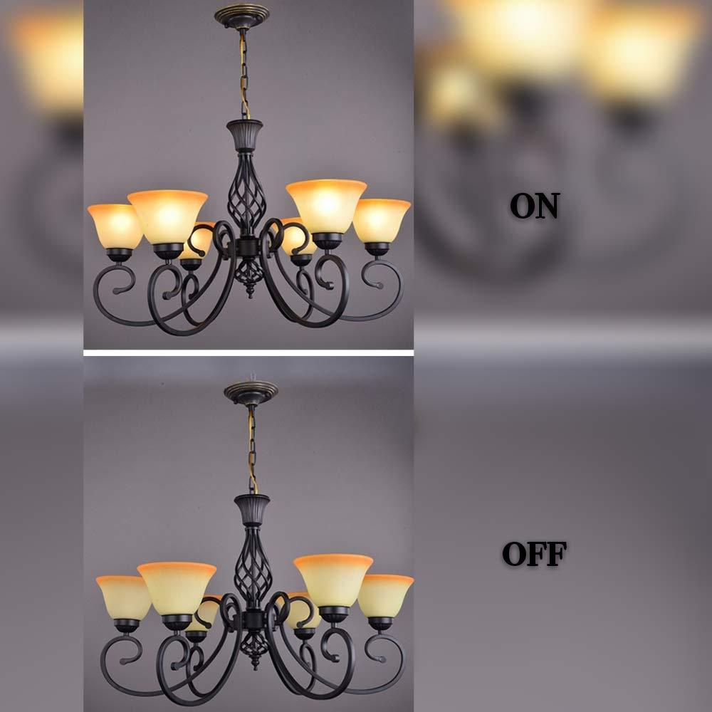 Kirin Vintage Wrought Iron Chandelier Ceiling Lighting Fixture Black for Bedroom Living Room Study (6-Light)
