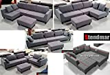 New Multifunction Sectional Sofa Dark Grey Microfiber S160G
