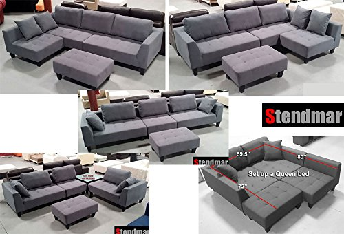 Modular Sectional Sofa (New Multifunction Sectional Sofa Dark Grey Microfiber S160G)