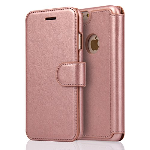 iPhone 6 Wallet Leather Case - SOWOKO iPhone 6S Ultra Slim Flip Cover Credit Card Protective Case with Magnetic Closure for Apple iPhone 6/6S 4.7 inch (Rose Gold)