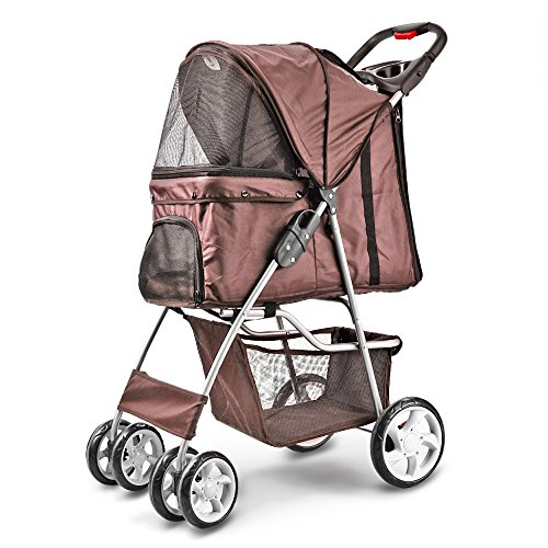 Flexzion Pet Stroller Dog Cat Small Animals Carrier Cage 4 Wheels Folding Flexible Easy Walk for Jogger Jogging Travel Up to 30 Pounds With Rain Cover Cup Holder and Mesh ()