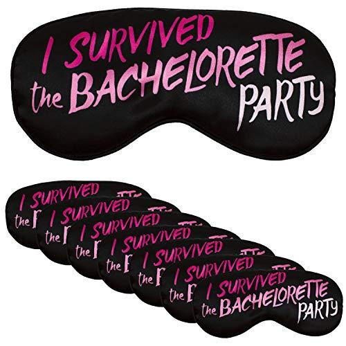 Bachelorette Party Favor Eye Mask - Set of 8 - I Survived The Bachelorette Party - Black/Pink -