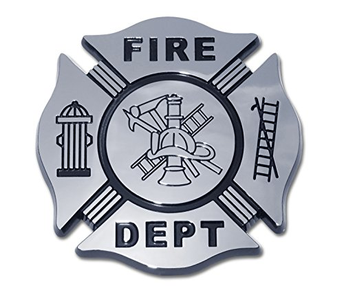 Fire Department Firefighter Maltese Cross Premium Black & Chrome Plated Metal Car Truck Motorcycle Emblem