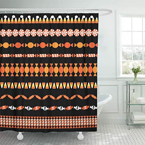 Semtomn Shower Curtain Clipart Corn Halloween Candy Border Patterns Autumn Edge Holiday Shower Curtains Sets with 12 Hooks 72 x 78 Inches Waterproof Polyester Fabric]()