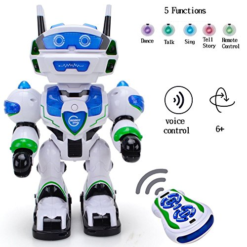 WISHTIME Voice RC Command Electronic Robot New Recharge Remote Control Intellegent Robot Allen Voice Command Robot Singing Dancing Chatting Telling Story 3+ Boys Girls -