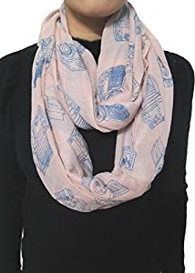 Lina & Lily Vintage Camera Print Loop Infinity Scarf for Women Lightweight