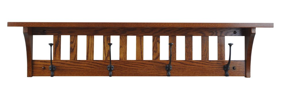 Wood Coat Rack Shelf Wall Mounted, Multiple Sizes, Wood Types, Stains, and Custom Available, Mission , 4 Hook, Oak Wood, Michaels Stain, Custom Available