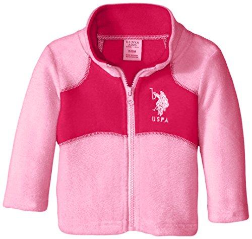 U.S. Polo Assn. Baby Girls Polar Fleece Jacket, Medium Pink/Fuchsia, 6-9 Months