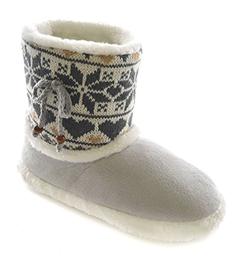Fairisle Slumberzzz Faux Bootie Bead Grey Suede Knitted Ladies qBSxwtBv