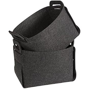 Felt Storage Baskets Bins, Estorager Folding Home Organizers Box Cubes,  Dark Gray, Pack