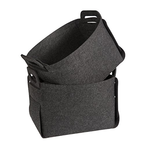 Felt Storage Baskets Bins, Estorager Foldable Baskets Home Organizers Box Cubes with Handles, Dark Gray, Pack of (Felt Basket)