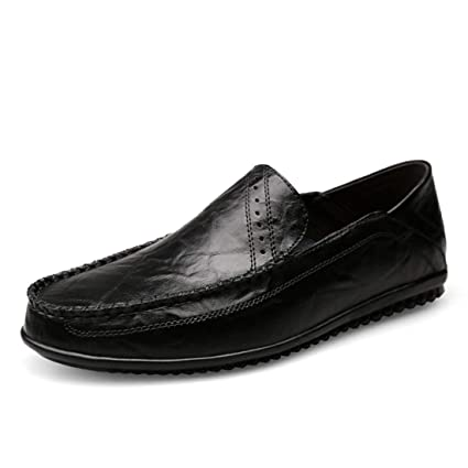 Willsego Mocasines Simples para niños de Boys Black Casual Penny Loafers UK 5 (Color :