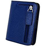 YALUXE Women's RFID Blocking Small Compact Leather Wallet Ladies Mini Purse with ID Window Blue RFID