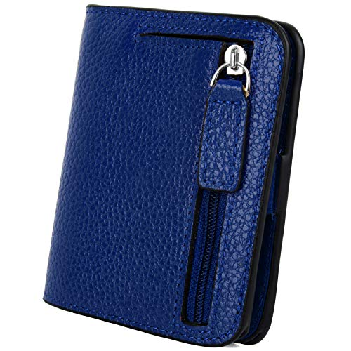 - YALUXE Women's RFID Blocking Small Compact Leather Wallet Ladies Mini Purse with ID Window Blue RFID