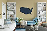 US Map Decal - Sticker Of US Map (Black, 60'' wide x 37'' tall)