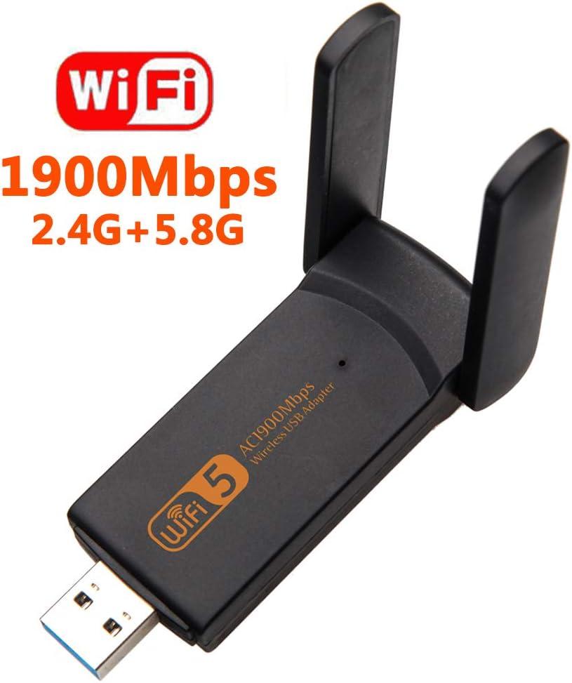 XVZ Adaptador WiFi USB, 1900 mbps Dual Band 2.4G/ 5G Adaptador inalámbrico, Mini tarjeta de red WiFi Dongle para ordenador portátil/sobremesa/PC, compatible con Windows10/8/8.1/7: Amazon.es: Electrónica