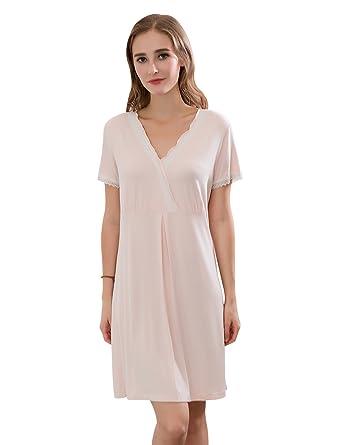 157e2f8741 QianXiu Women's Comfy Nightdress V-Neck Nightwear Sexy Lace Nightshirt  Bamboo Fiber Sleepwear Simple Natural