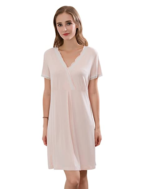 QIANXIU Women s Nightshirt Long-Sleeved Nightgown Ultra-Soft Sleep Dress  Sleepwear a5c679fe6