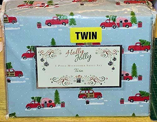 - Holly Jolly Rock Santa Woody Car Christmas Trees Sheet Set - Twin (Blue Background)