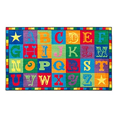 """Flagship Carpets CE191-28W Early Blocks Rug, All 26 Letters Provides a Unique Learning Spot for Everyone, Children's Classroom Educational Carpet, 5' x 8', 60"""" Length, 96"""" Width, Multi-Color"""