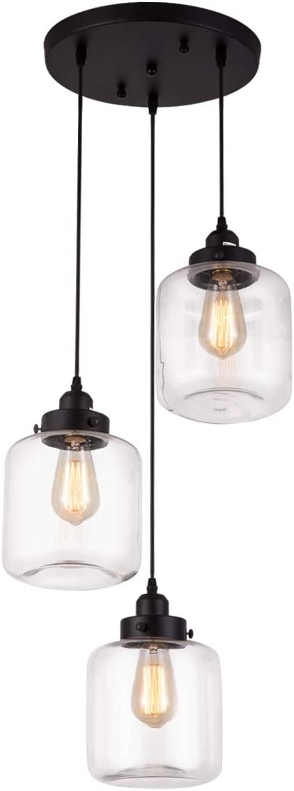 Weesalife Pendant Light with Transparent Glass Shade Matte Black 3-Lights Pendant Lighting Adjustable Industrial Retro Style Hanging Light Fixture for Kitchen Island, Dining Room, Foyer, Farmhouse