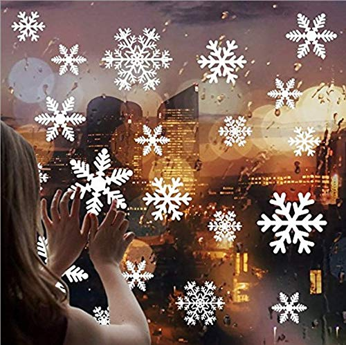 (Astra Gourmet Christmas Snowflake Window Clings Decal - 108PCS Removable PVC Wall Window Sticker for Christmas, Holiday, Winter Wonderland White Decorations)
