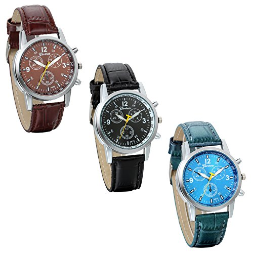 JewelryWe-Lot-of-3-Wholesale-Business-Casual-Mens-Quartz-Wrist-Watch-Leather-Strap-Watches