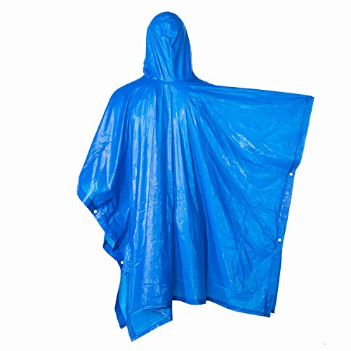 H&C Resuable Outdoor 100% Waterproof Rain Poncho with Hood Sleeves Side Snaps-for Concerts,Camping,Hiking,Cycling