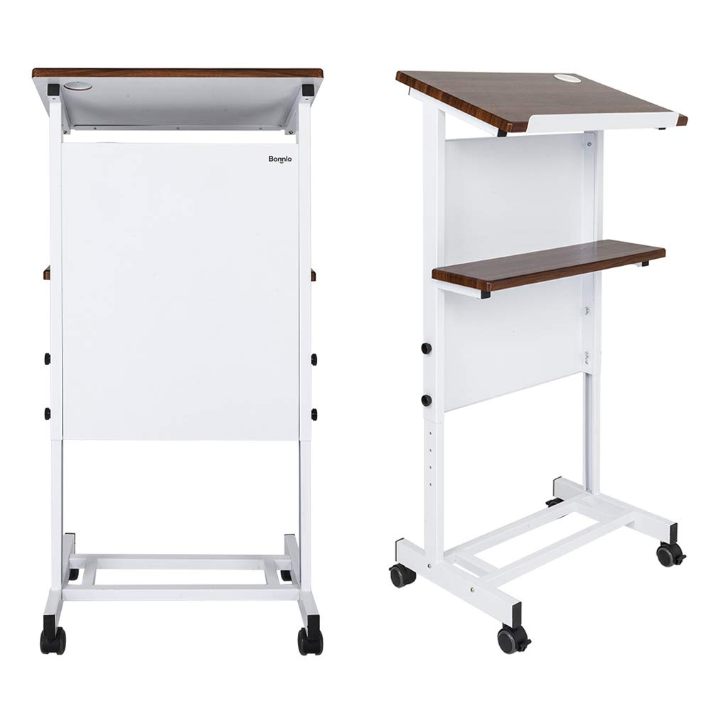 Bonnlo Mobile Stand Up Lectern Height Adjustable Podium with Wheels, Portable Heavy Duty Desk, Church Pulpit or Ceremony, Classroom Lecture Speech Teach Platform, Walnut Tabletop and White Steel Frame