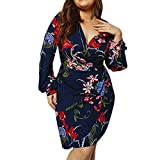 Makulas Womens Dresses Long Sleeve Elegant Floral Printed V Neck A Line Mini Dress Summer Dresses Beach Dress Sundress Navy