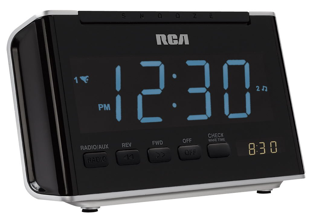 rca rc46r am fm alarm clock radio with large blue led display black rh amazon ca