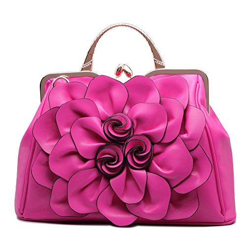 Shoulder Wedding Clutch Satchel Women for Fashion Flower Ruiatoo Rose Purse Tote Evening Bags Red Handbag 0URxTRB
