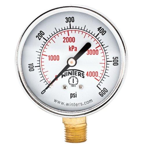 600 Psi Pressure Gauge - Winters PEM Series Steel Dual Scale Economical All Purpose Pressure Gauge with Brass Internals, 0-600 psi/kpa, 2-1/2
