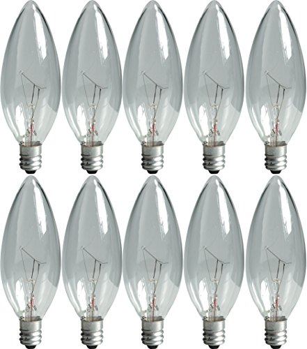 GE Lighting 75257 Crystal Clear 15-Watt, 105-Lumen Blunt Tip Light Bulb with Candelabra Base, 10-Pack ()