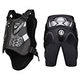 WOSAWE Powersports Armored Vest and Padded Shorts Set Motorcycle MTB Racing Protector, Large
