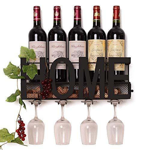 ZGXY Wall Mounted Metal Wine Rack Glass Holder Iron Decorative Wine Cork Storage Rack Gift Easy Install (Gift Rack Wine)
