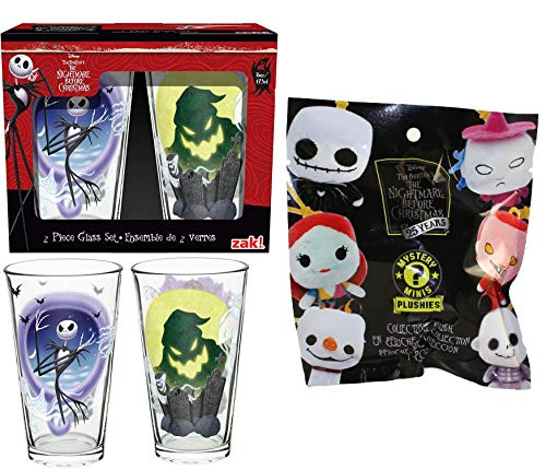 Funko Creep Plush Nightmare Before ChristmasMystery Minis Backpack Hanger + Character Jack Skellington Collectible Drink Glass 2 Items -