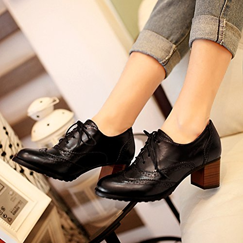 Bootie Chunky toe Ankle Comfort Rounded Fashion Black Low Womens Faux Heel Leahther UwB7xqq4