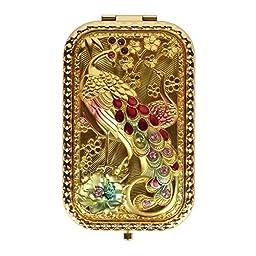 LOHOME(TM) Art Nouveau Rectangle Handheld Fold Make-up Classical Mirror Peacock Decorative Fashion Beauty Accessory