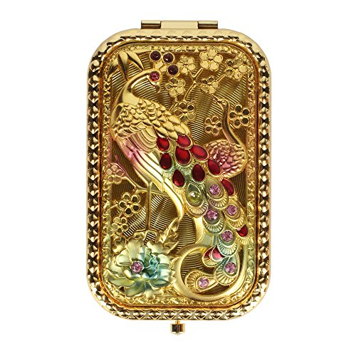 Elegant Compact Mirror (LOHOME(TM) Art Nouveau Rectangle Handheld Fold Make-up Classical Mirror Peacock Decorative Fashion Beauty Accessory)