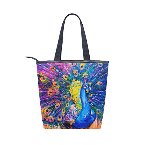 Canvas MyDaily Shoulder Painting Oil Womens Tote Handbag Bag Peacock 6wpqgxw