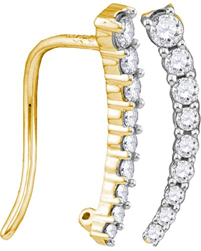 10kt Yellow Gold Womens Round Diamond Graduated Journey Climber Earrings 1/4 Cttw (I1-I2 clarity; H-I color) (Round Earrings Journey Diamond)